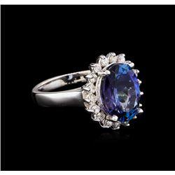 4.05 ctw Tanzanite and Diamond Ring - 14KT White Gold