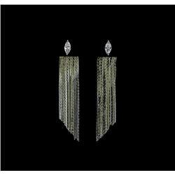Dangle Crystal Teardrop Earrings - Rhodium Plated