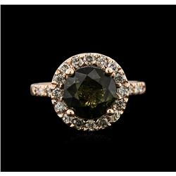3.20 ctw Tourmaline and Diamond Ring - 14KT Rose Gold
