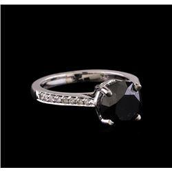 3.85 ctw Black Diamond Ring - 14KT White Gold