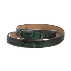 Valentino Green Lizard Skin Rhinestone Buckle Thin Belt