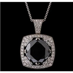 14KT White Gold 18.84 ctw Black Diamond Pendant With Chain