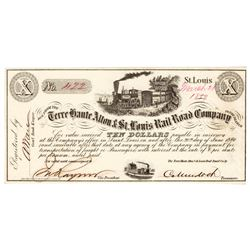 1859 $10 St. Louis Terre Haute Alto &St. Louis Railroad Interest Post note