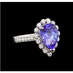 14KT White Gold 3.73 ctw Tanzanite and Diamond Ring