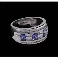 0.35 ctw Tanzanite and Diamond Ring - 14KT White Gold