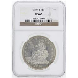 1874-S $1 Trade Silver Dollar Coin NGC MS60