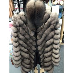 Brown Sable V-Cut Fox and silk reversable lightweight jacket