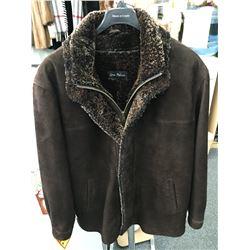 Men's brown vintage lamb suede Coat with sheepskin liner & trim