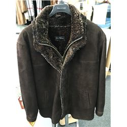 Men's brown vintage lamb suede Coat with sheepskin liner & trim