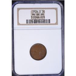 1926-S LINCOLN CENT, NGC MS-64 BROWN RARE!!