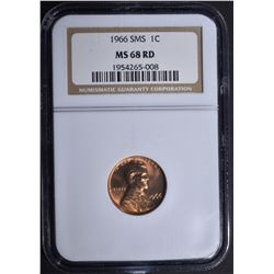 1966 SMS LINCOLN CENT, NGC MS-68 RED