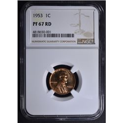 1953 LINCOLN CENT NGC PF67RD