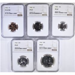 1962 PROOF SET ALL COINS, NGC PF-67