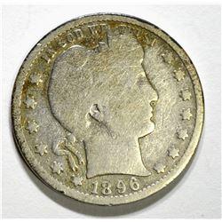 1896-S BARBER QUARTER, FULL GOOD+ KEY COIN RARE