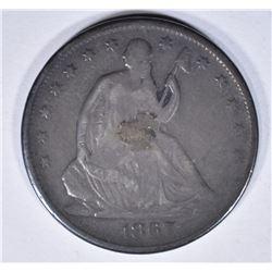1867 SEATED HALF DOLLAR, FINE