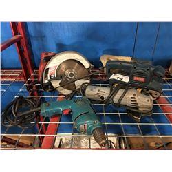 4 POWER TOOLS - SKILSAW, SANDER, GRINDER & DRILL