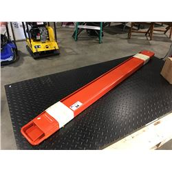 "PAIR OF ORANGE 72"" FORK LIFT FORK EXTENSIONS"