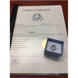 CERTIFIED 6CT BLUE TOPAZ & DIAMOND RING, VVS CLARITY OVAL CUT, 2 DIAMONDS, LIVELY SKY BLUE,