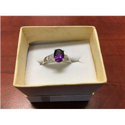 PURPLE AMETHYST & DIAMOND SOLITAIRE RING, OVAL CUT, 2 DIAMONDS, STERLING SILVER