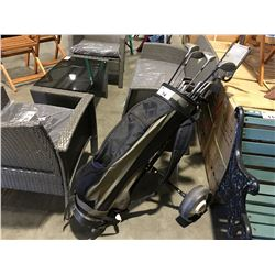 PRO SELECT RIGHT HANDED GOLF CLUB SET WITH BAG AND PUSHCART