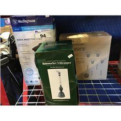 WESTINGHOUSE 4 PIECE INSECT CONTROL PATH LIGHT/WESTINGHOUSE 1 PCE SOLAR BUG ZAPPER  & BUG VACUUM