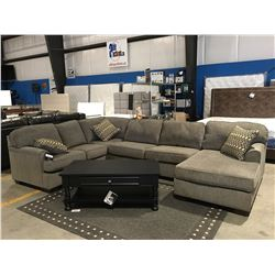 3 PCE GREY UPHOLSTERED SECTIONAL SOFA WITH 3 THROW CUSHIONS