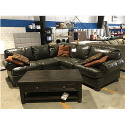 2 PC CHOCOLATE BROWN LEATHER SECTIONAL SOFA WITH 5 THROW CUSHIONS