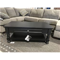 SINGLE DRAWER BLACK CONTEMPORARY COFFEE TABLE