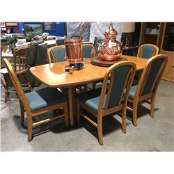 SOLID OAK DINING TABLE WITH ONE LEAF & 6 CHAIRS