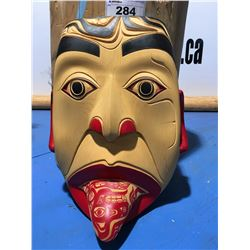 """CARVED YELLOW CEDAR CHIEF OF THREE RIVERS WOLF CLAN MASK BY ARTIST RUPERT JEFFREY (15"""" X 20"""")"""