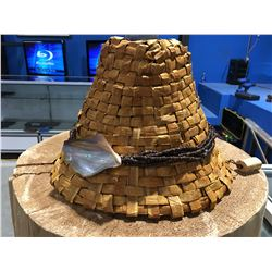 """RED CEDAR BARK WITH SHELL/BEADS & DEVILS CLUB TIE WOVEN HAT BY WAYNE BELL (8"""" X 12"""")"""
