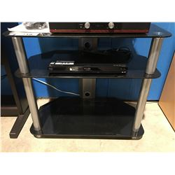 3 TIER GLASS & METAL TV ENTERTAINMENT STAND