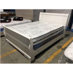 QUEEN WHITE SLEIGH BED (HEAD BOARD, FOOT BOARD & RAILS)