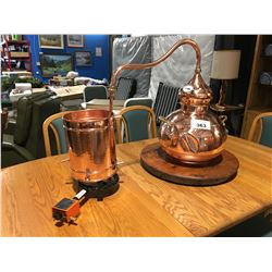 DECORATIVE COPPER STILL WITH GAS COOKER AND LAZY SUSAN