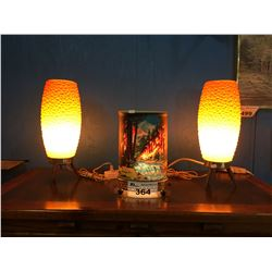 1950'S MOTION LAMP & PAIR OF MID CENTURY TABLE LAMPS