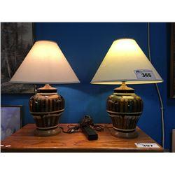 2 PAIRS OF CERAMIC & WOOD TABLE LAMPS