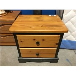 TWO TONE PINE & GREEN NIGHT STAND