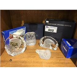 4 PCS OF HANDMADE SWEDISH CRYSTAL - ANIMAL FIGURES (SALMON/EAGLE/OWL/WALRUS)