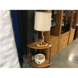 OAK CORNER TABLE, DRIFT WOOD LAMP & CERAMIC PLANTER