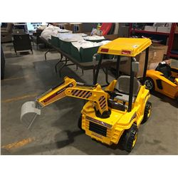 WONDER LANES BACK HOE BATTERY POWERED CHILDS RIDE ON TOY (MINOR PARTS & REPAIR NEEDED)
