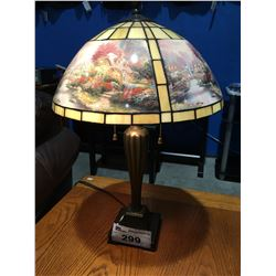 LEADED STAINED GLASS TABLE LAMP - THOMAS KINKADE ART PANELS