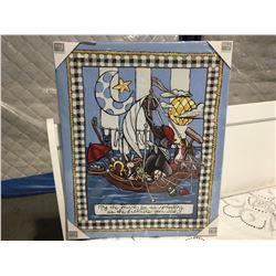 "MARY JACK STUDIOS OIL ON CANVAS TRANSFER PRINT ""THE JOURNEY"" NURSERY ROOM ARTWORK (30"" X 24"")"