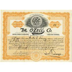 Walter E. Disney Original O-Zell Stock Certificate.