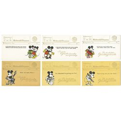 Collection of (6) Mickey Mouse Postcards.