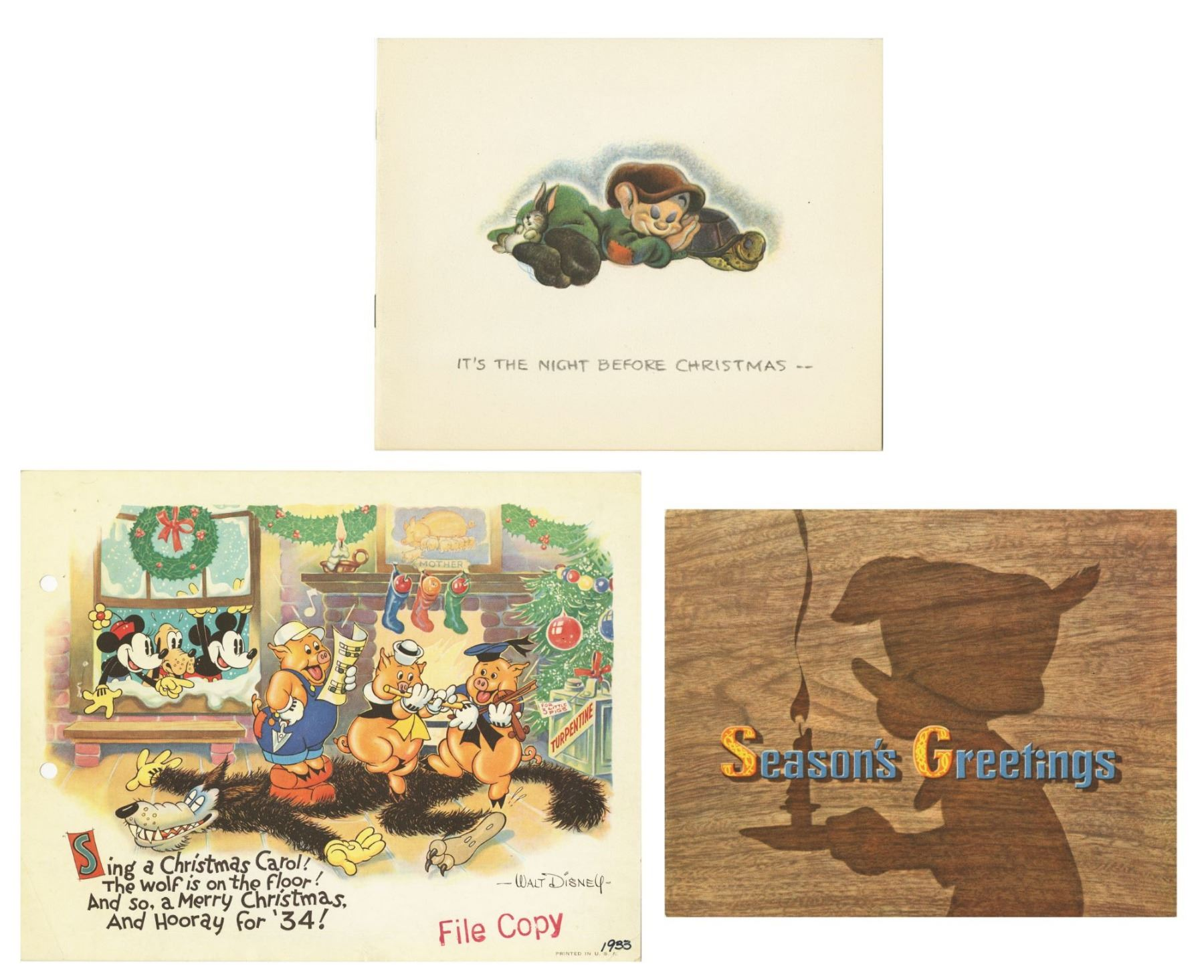 Disney Christmas Cards.1930s Walt Disney Studio Christmas Cards
