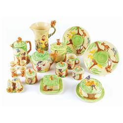 "17-Piece Wade Heath Pottery ""Snow White"" Breakfast Set."