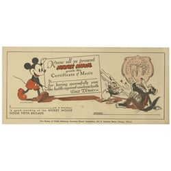 Mickey Mouse Dental Certificate.