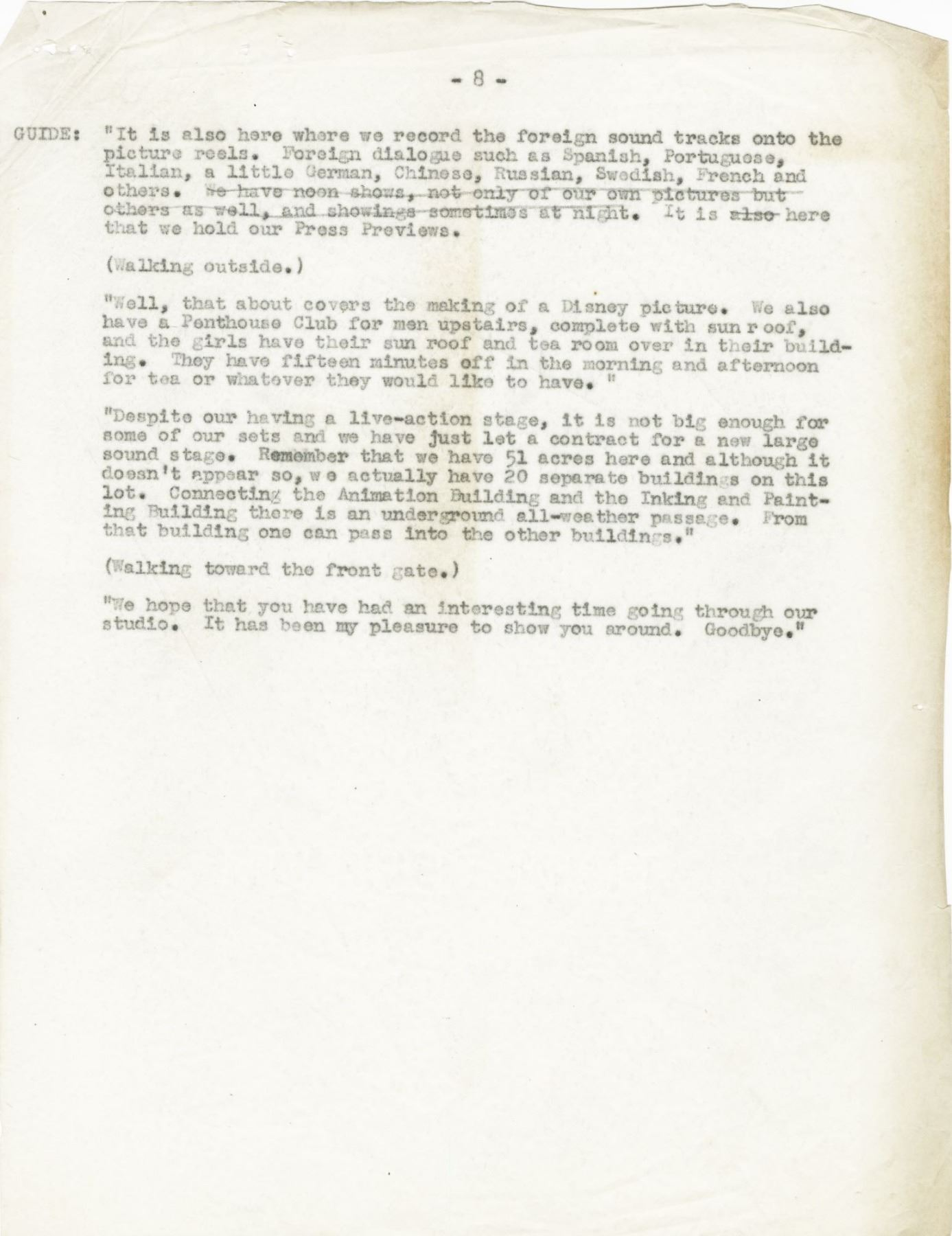 Page from Walt Disney Studios Tour Guide Script