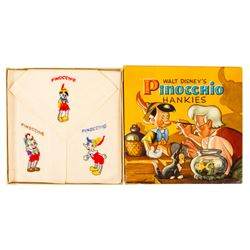 "Set of ""Pinocchio"" Child's Handkerchiefs."