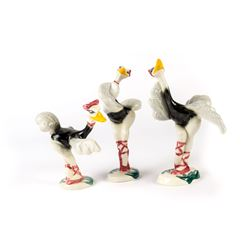 "Collection of Vernon Kilns ""Fantasia"" Ostrich Figures."